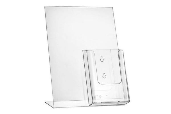 L-standaard A4 met folderhouder 1/3-A4