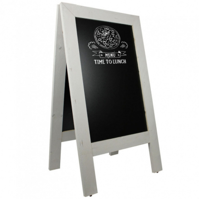 Krijtstoepbord Steigerhout Wit 75x135 cm